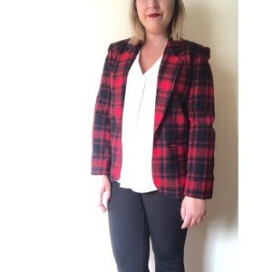 Pendleton red Tartan Plaid Wool Blazer